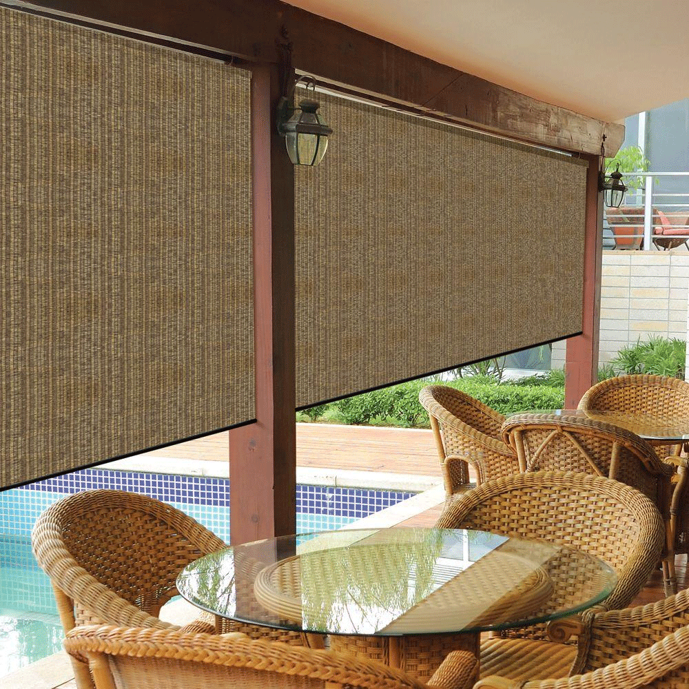 Cordless Outdoor Roller Shade Exterior Roll Up Blind