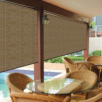 Cordless Outdoor Roller Shade Exterior Roll Up Blind Fabric Brown Large 10x8 Ft 799870460082 Ebay