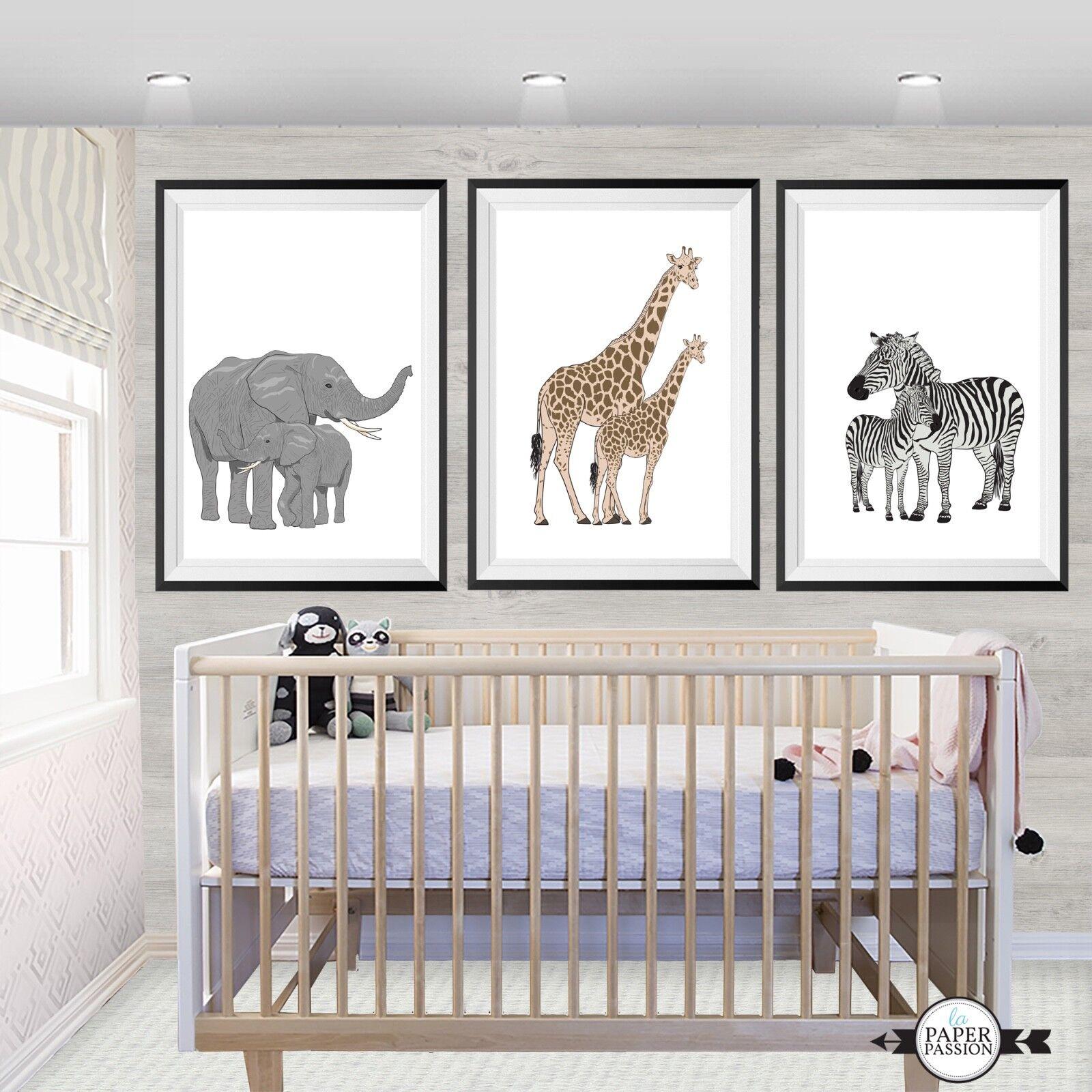 SET OF Three Safari wall Prints  Nursery Prints Various Größes