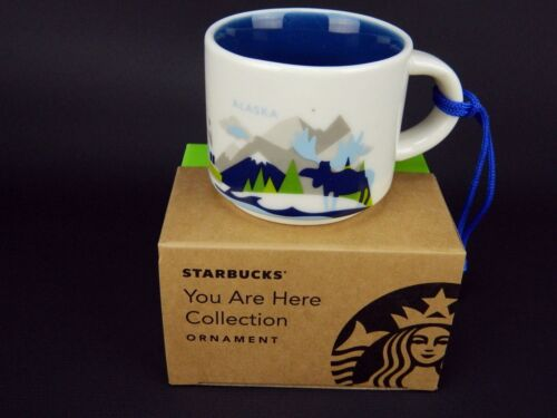 NIB Starbucks YAH Alaska You Are Here Mini 2 oz Mug Christmas Tree Ornament