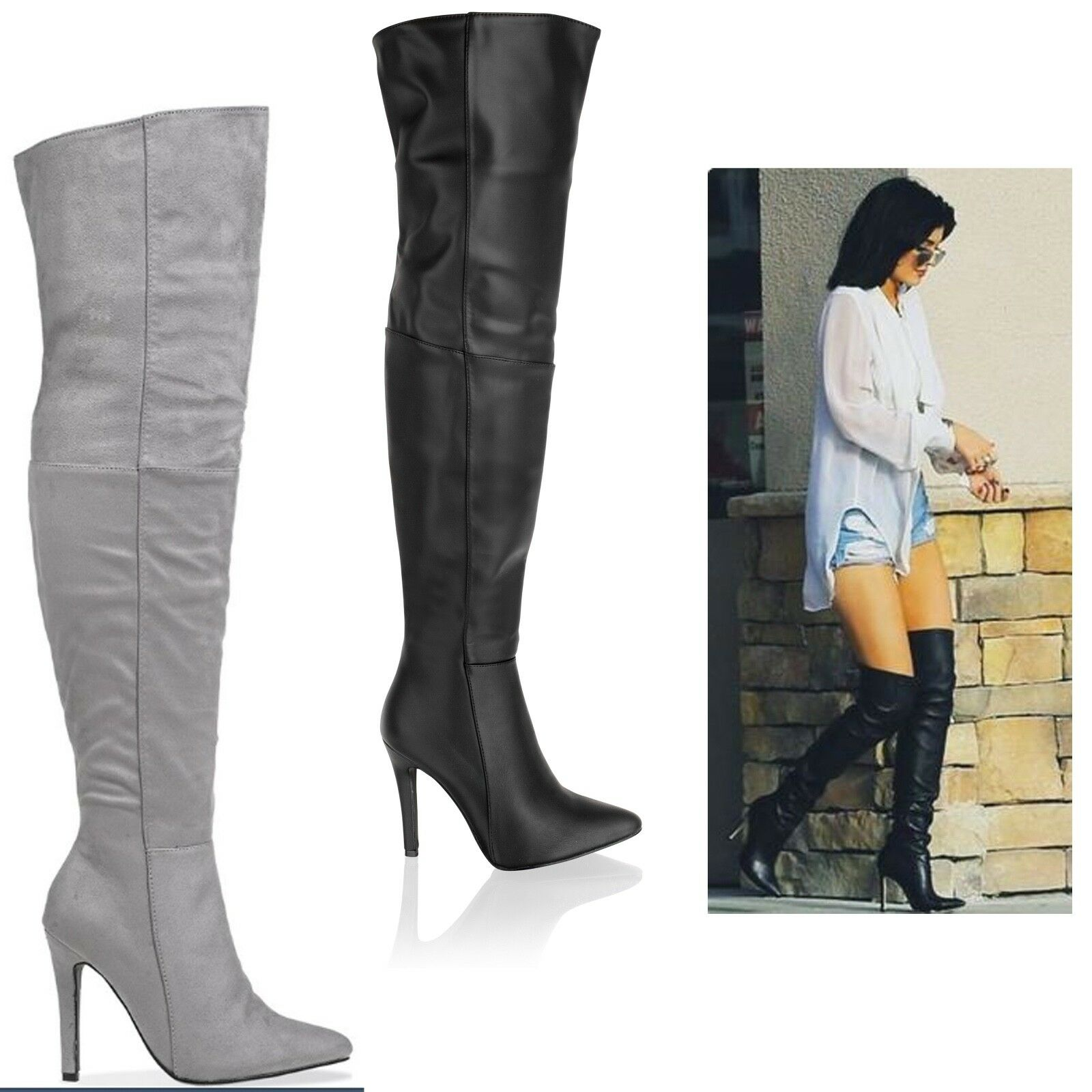 Womens Ladies Over The Knee Thigh High Stiletto Heel Pointed Black Boots Shoes
