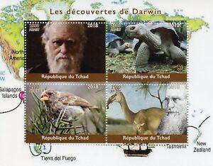 Chad-2018-CTO-Charles-Darwin-4v-M-S-Animali-Selvatici-TARTARUGHE-fringuelli-birds-stamps