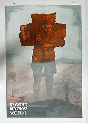 Original World War I Red Cross Vintage Poster of Medic Carrying Wounded Soldier