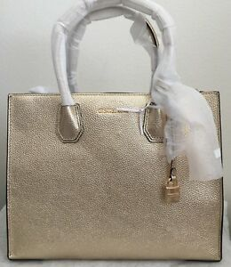 NWT-MICHAEL-KORS-Mercer-Large-Metallic-Leather-Tote-Satchel-Bag-298-Original-Pa