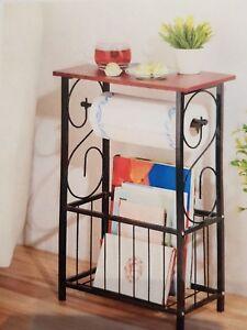 Details zu Beistelltisch Küche badezimmer Serviertisch Schwarz  Zeitungsständer Regal