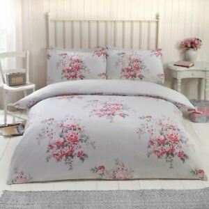 Maisie Floral Gris Parure Housse De Couette King Size Literie 2 En