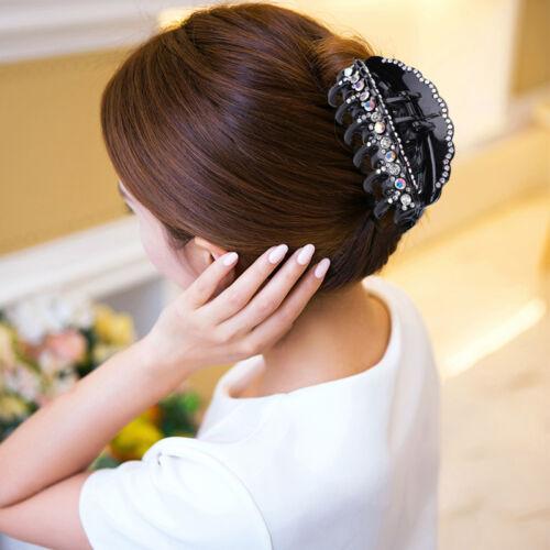 Fashion Women Black Crystal Rhinestone Hair Clips Claws Comb Clamp Accessories