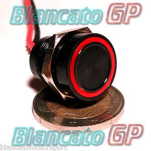 PULSANTE-PIEZOELETTRICO-16mm-NERO-LED-ROSSO-12V-auto-piezo-switch-interruttore
