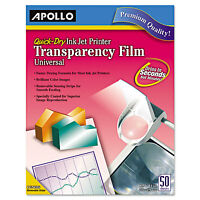 Apollo Color Inkjet Quickdry Transparency Film W/removable Stripe Letter Clear on sale