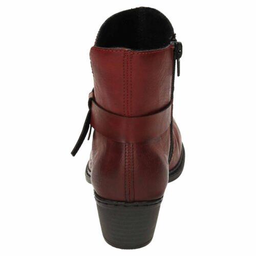 Rieker Low Heeled Ankle Boots 75553-35 Red Cowboy Warm Zip Lightweight