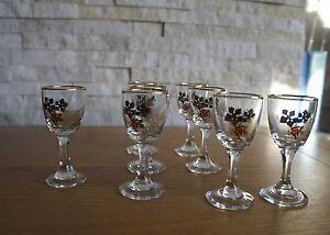 SET OF 8 SHOTSHERY GLASSES VODKA VINTAGE GILDED GLASS CRYSTAL 195060s - Blackburn, United Kingdom - SET OF 8 SHOTSHERY GLASSES VODKA VINTAGE GILDED GLASS CRYSTAL 195060s - Blackburn, United Kingdom