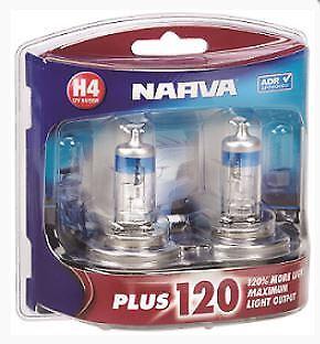 Narva 12V H4 60/55W PLUS 120 HALOGEN HEADLIGHT GLOBES Blister pack of 2