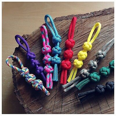 Many Colours Set of 3 Paracord Grip Zip Tent//Bag Zipper Pulls Handmade in UK