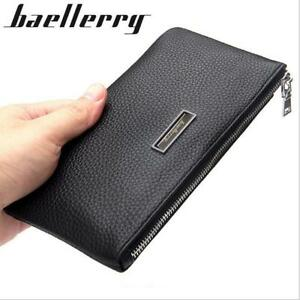 Men-Leather-Long-Clutch-Wallet-High-Capacity-Credit-Card-Zipper-Checkbook-Purse