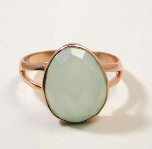 Chalcedony-Gemstone-Rose-Gold-Plated-Ring-925-Sterling-Silver-Jewelry-MR1079