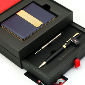 Details about Free engraving - 24K Gold, Mens Leather Money Clips, Roller Ball pen, Gift Set