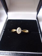 .25ct OVAL SOLITAIRE DIAMOND 18K RUB-OVER SETTING ENGAGEMENT RING SUPERIOR STONE