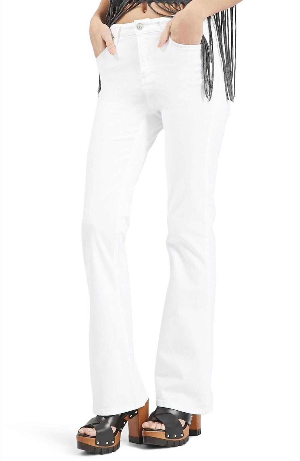 Topshop Moto Jamie Flare Jeans High Waisted Stretch Flare White Sz. 6 US (27)