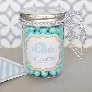 Image Is Loading 24 Personalized Blue Elephant Theme Mini Mason Jars