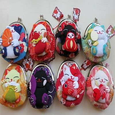 Wholesale Lots Japanese Kimono Fabric Lucky Cat Cartoon Coin Wallet Purse Bag