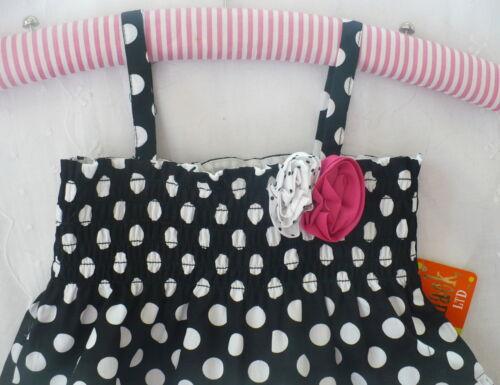 Penelope Mack Dress Girls Pretty Full Tiered Black White Polka Dot Lined Flower