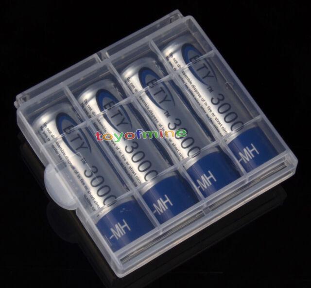 4X AA 3000mAh Ni-MH Rechargeable Battery + Case E513 UK