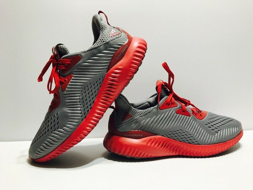 Adidas Men's Sz 11.5 Alphabounce Running shoes Grey Red AC8044 IU Indiana Issue