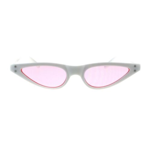 Womens 80s Retro Vintage Goth Narrow Rectangular Cateye Sunglasses
