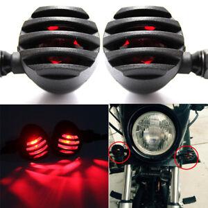 2x Mini 12V Black Motorcycle Turn Signal Bullet Blinker Indicator Light Amber US