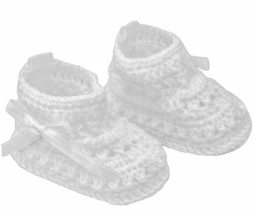 Bébé Garçons Filles Crochet Chaussons Avec Ruban de Satin Cravate Soft bootees NB-3M CRS09