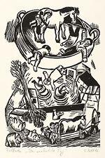 LOTHAR SELL - Zu Hans Fallada - Der verkehrte Tag - Holzschnitt 1976