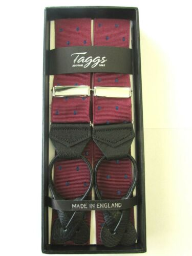 TAGGS PREMIUM RIGID WINE WITH NAVY POLKA DOT LEATHER END BRACES