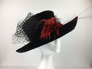 Hat Box Hat in Black with Red/Black Feathers 100% Cotton Velvet (254)
