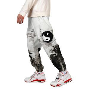 Mens-3D-Print-Color-Block-Cargo-Pants-Joggers-Pants-Trousers-005-XL