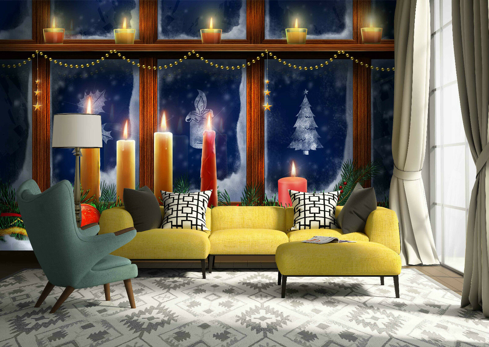 3D Candle Cheer 63 Wall Paper Wall Print Decal Wall Deco Indoor Wall