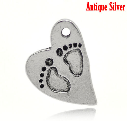 UK 24B 5 ANTIQUE SILVER BABY FEET HEART CHARM//PENDANT~Baby Shower~Christening