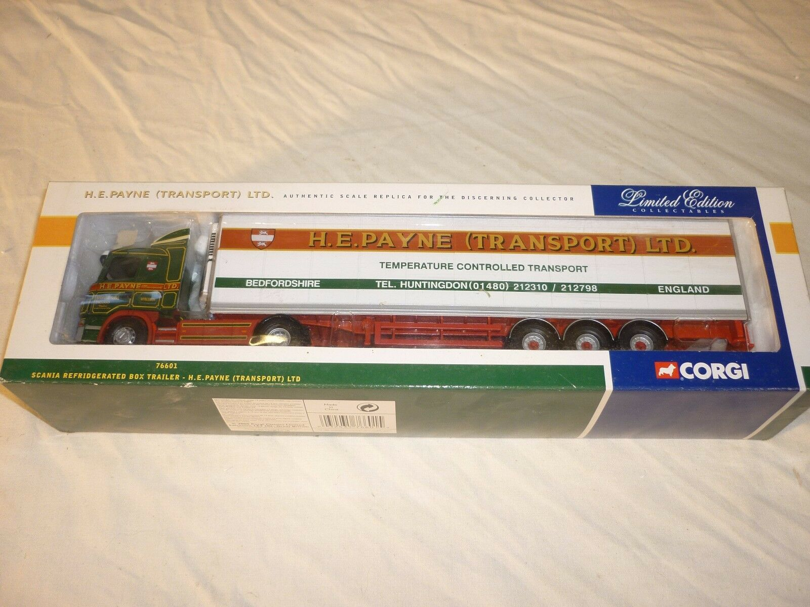 Corgi cc76601, scania, gekühlte box - trailer, h.e.payne transport ltd.