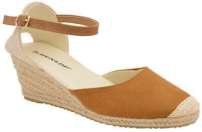 Women/'s Dunlop Faux Suede Espadrille Wedge Sandals Memory Insoles Buckle Fasten