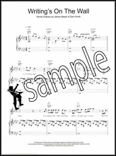 Sam Smith Writings on the Wall Piano Vocal Guitar Sheet Music James Bond Spectre