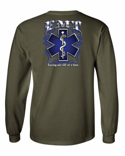EMT Saving One Life at a Time Long Sleeve T-Shirt Paramedic First Responders Tee