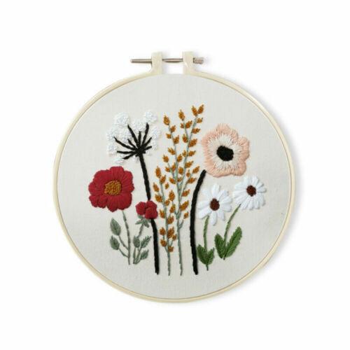 kits de arranque cruz puntada bordado impreso flor patrón Craft Conjunto Hágalo usted mismo 1//3 un