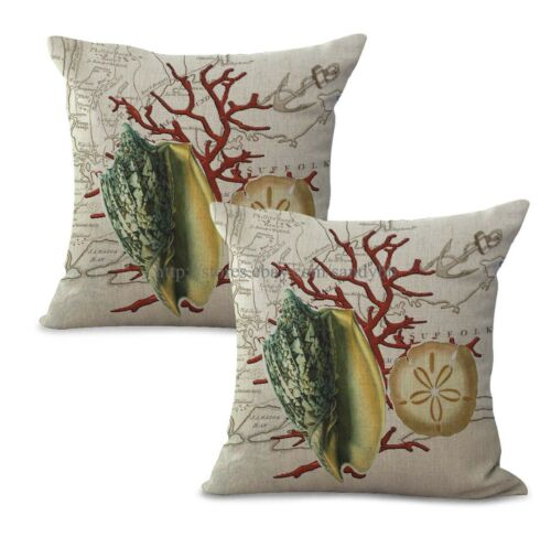 US Seller interior decorating sand dollar coral reef seashell cushion cover