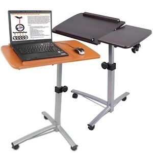 Portable-Rolling-Laptop-Desk-Table-w-Split-Top-Hospital-Bed-Food-Tray-Computer