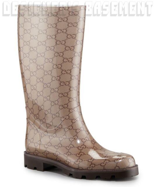 4ebac166c554 GUCCI rubber 35 Beige & Brown EDIMBURG GG flat lug sole Rain Boots NIB  Authentic