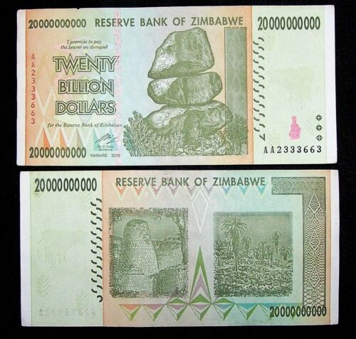 1 x Zimbabwe 20 Billion Dollar banknote paper money currency