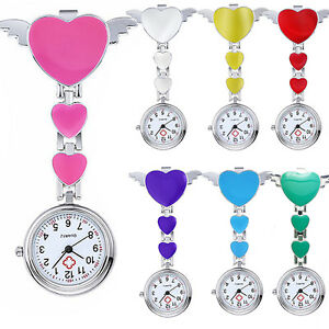 Women-Lady-Cute-Love-Heart-Quartz-Clip-on-Fob-Brooch-Nurse-Pocket-Watch-Seraphic