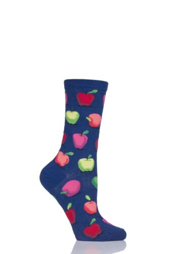 Ladies 1 Pair HotSox All Over Apples Cotton Socks