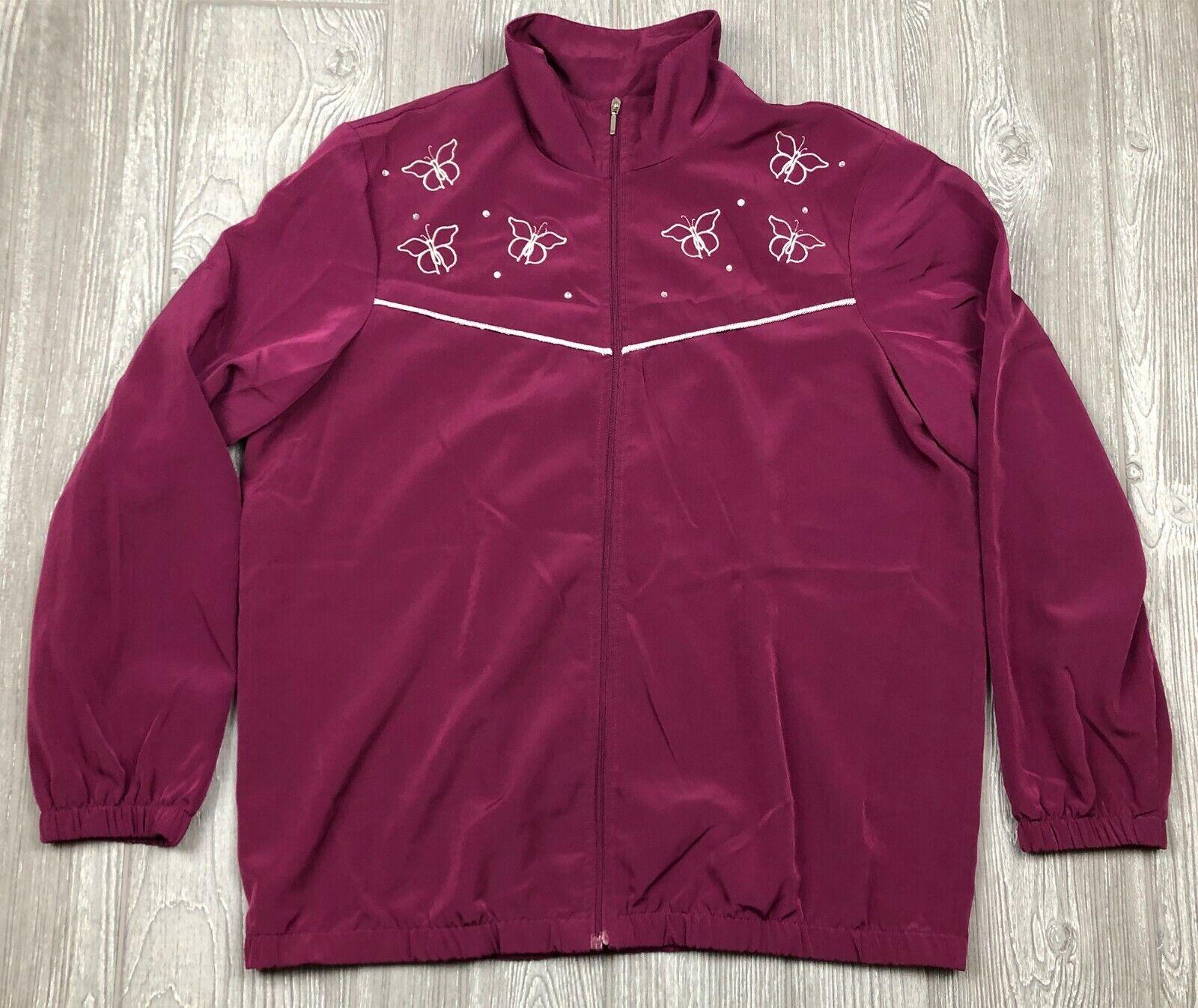 Blair Plum Butterfly Women's Full Zipper Jacket Long Sleeve Size Medium