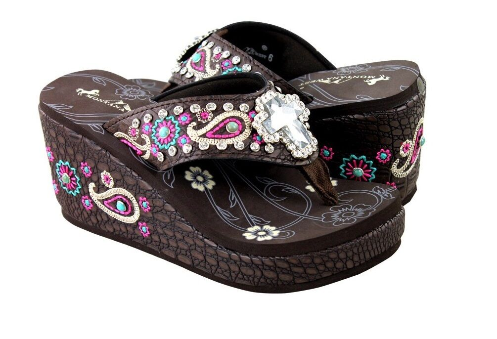 "MONTANA WEST CROSS AZTEC PAISLEY RHINESTONE 3"" FLIP FLOPS SANDALS BROWN PINK"