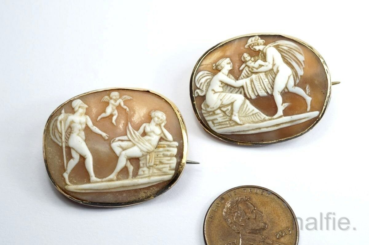 PAIR of ANTIQUE 9ct gold CARVED SHELL CAMEO BROOCHES c1820 EROS, APHRODITE etc